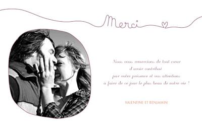 Carte de remerciement mariage Tendresse violet finition