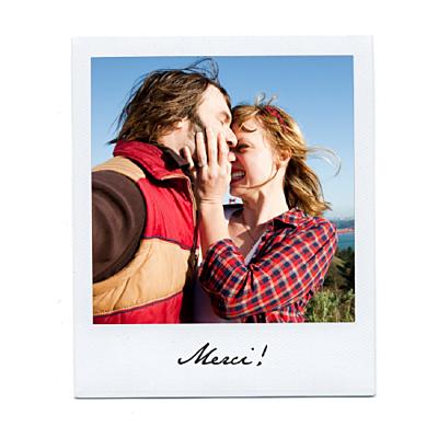 Carte de remerciement mariage Polaroïd blanc finition
