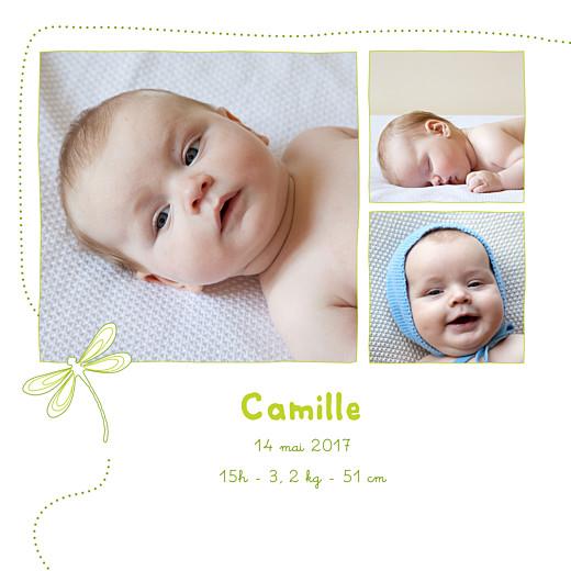 Faire-part de naissance Libellule 4 photos vert clair