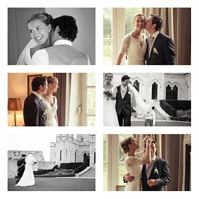 Carte de remerciement mariage Simple 6 photos blanc finition