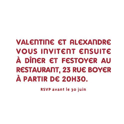 Carton d'invitation mariage Amour carré rouge - Page 2