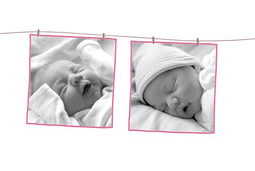 Faire-part de naissance Fil à linge liberty 2 photos framboise - Page 2