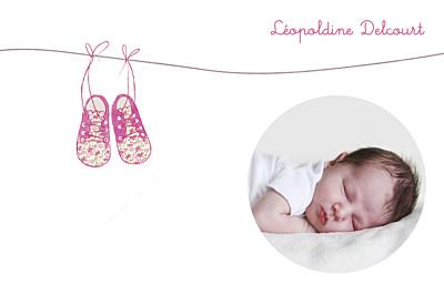Carte de remerciement Petites chaussures rose finition