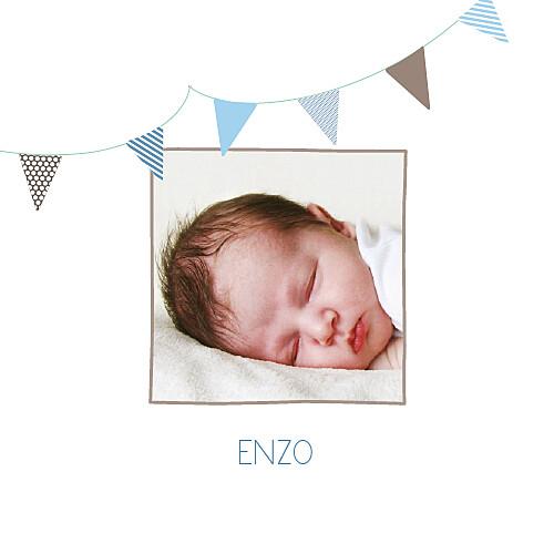 Faire-part de naissance Fanions 2 photos taupe