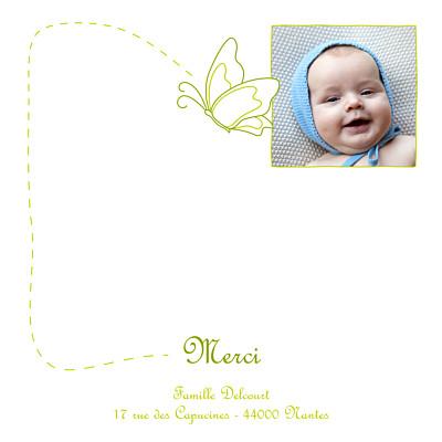 Carte de remerciement Petit origami papillon vert finition