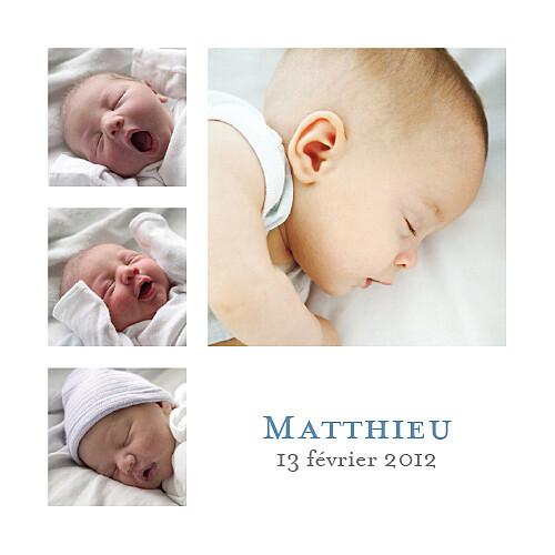 Faire-part de naissance Classique 6 photos blanc