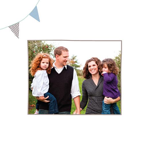 Carte de voeux Fanions 2 photos voeux bleu