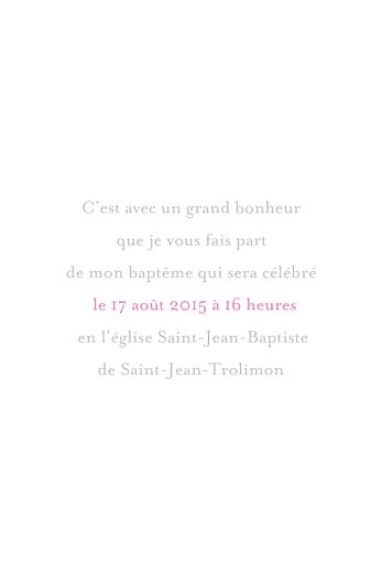 Faire-part de baptême Petite église 4 pages rose gris - Page 3