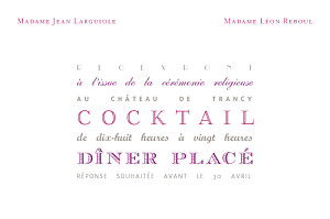 Carton d'invitation mariage violet le plus beau jour blanc