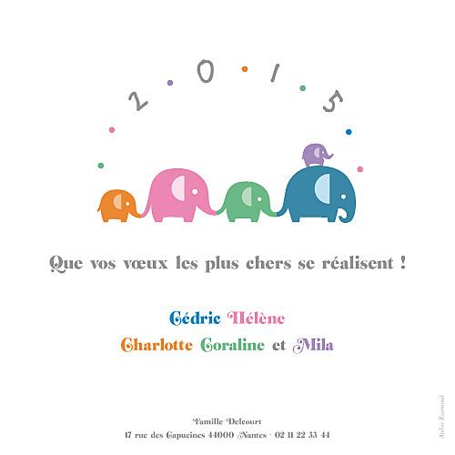 Carte de voeux Les éléphants de 2015 multicolore