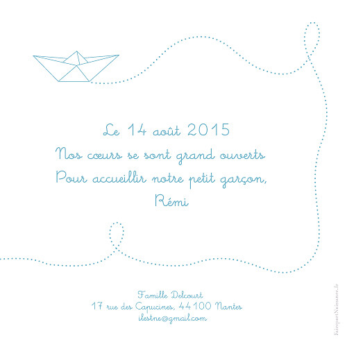 Faire-part de naissance Origami bateau 3 photos bleu - Page 2