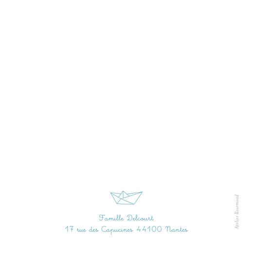 Carte de remerciement Petit origami bateau bleu - Page 2