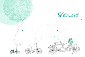 Faire-part de naissance printemps-eté à bicyclette (2 enfants) photos vert