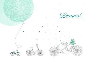 Faire-part de naissance jouets à bicyclette (2 enfants) photos vert