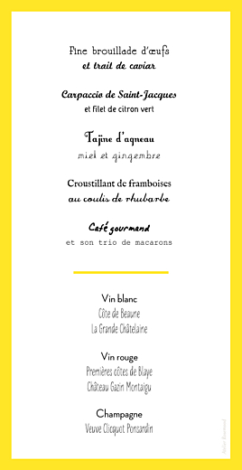 Menu de mariage Un grand oui ! jaune - Page 2