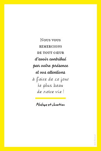 Carte de remerciement mariage Un grand oui ! jaune - Page 2