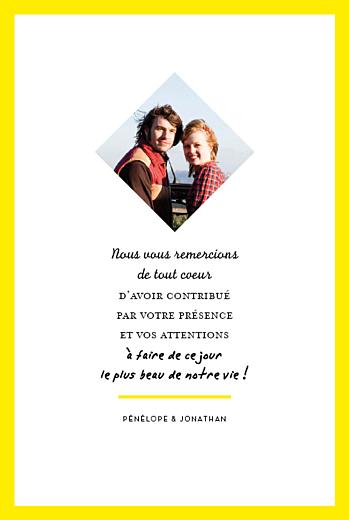Carte de remerciement mariage Un grand oui ! (recto seul) jaune - Page 1