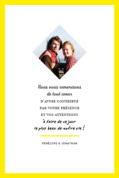 Carte de remerciement mariage Un grand oui ! (recto seul) jaune finition