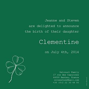 Faire-part de naissance louise pianetti bilingue irlande-france gris vert