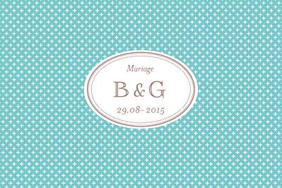 Carton d'invitation mariage Motif chic turquoise finition