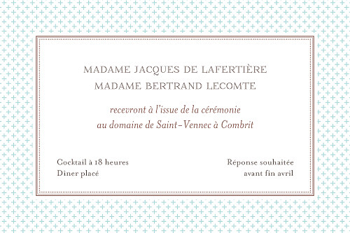Carton d'invitation mariage Motif chic turquoise - Page 2