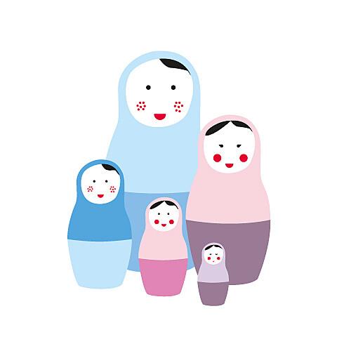 Faire-part de naissance 5 poupées russes fille