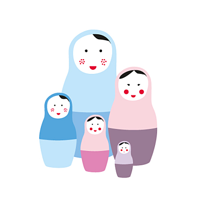 Faire-part de naissance 5 poupées russes fille finition