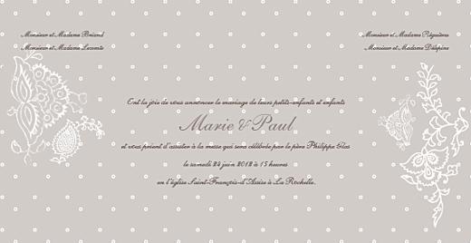 Faire-part de mariage Plumetis taupe gris - Page 3
