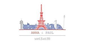 Faire-part de mariage voyage paris bleu-rouge-gris