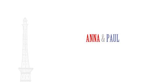 Faire-part de mariage Paris bleu-rouge-gris - Page 2