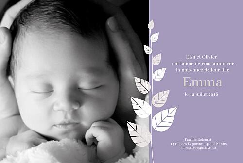 Faire-part de naissance Elegance violet - Page 1