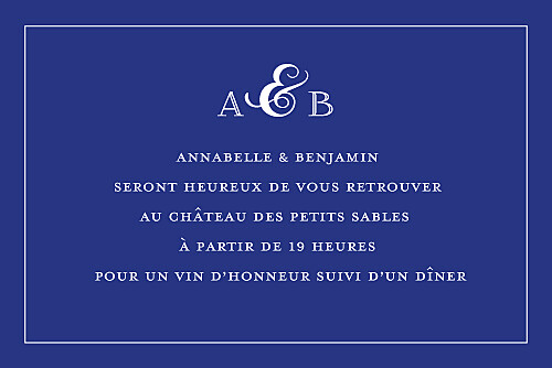 Carton d'invitation mariage Classique liseré bleu - Page 2