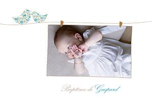 Faire-part de baptême beige poétique photo bleu