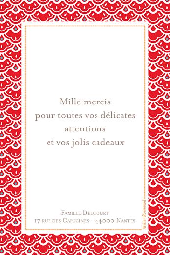 Carte de remerciement Merci pattern portrait rouge - Page 2
