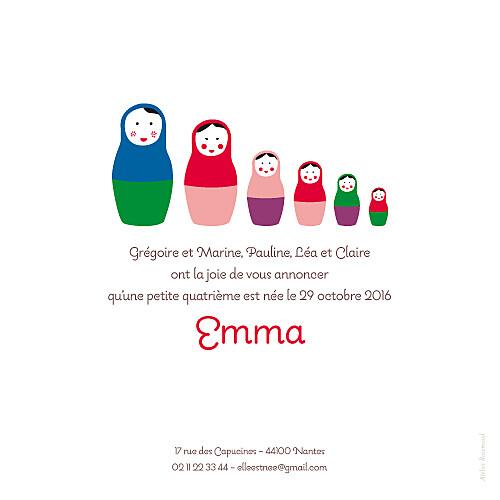 Faire-part de naissance 6 petites poupées photo rouge