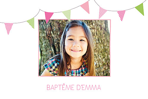 Faire-part de baptême Fanions paysage photo rose vert