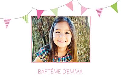 Faire-part de baptême Fanions paysage photo rose vert finition