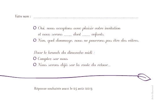 Carton réponse mariage Oiseaux prune - Page 2