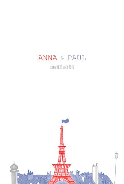 Menu de mariage Paris bleu gris rouge finition