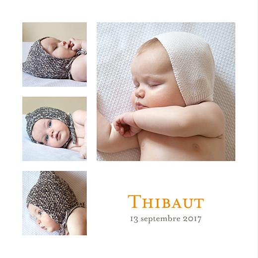Faire-part de naissance Classique 4 photos blanc