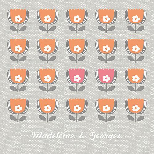 Faire-part de mariage Seventies (4 pages) orange rose