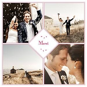 Carte de remerciement mariage Bouquet 4 photos rouge