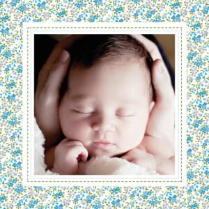 Carte de remerciement Merci liberty poetique photo bleu