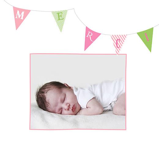 Carte de remerciement Petits fanions photo rose vert