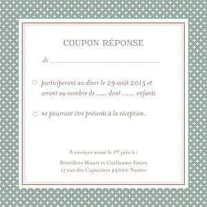 Carton réponse mariage Motif chic vert de gris