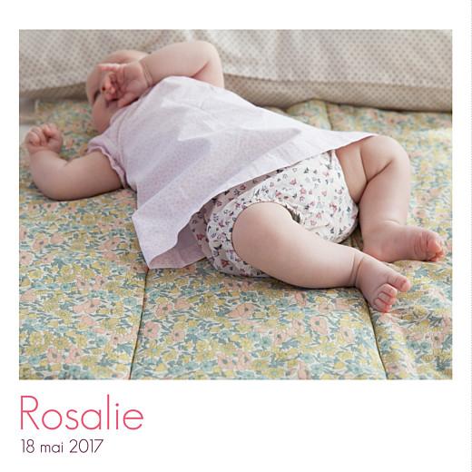 Faire-part de naissance Simple 3 photos blanc