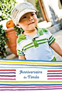 Carte d'anniversaire violet dessin lignes bleu