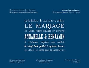 Faire-part de mariage moderne le plus beau jour bleu marine