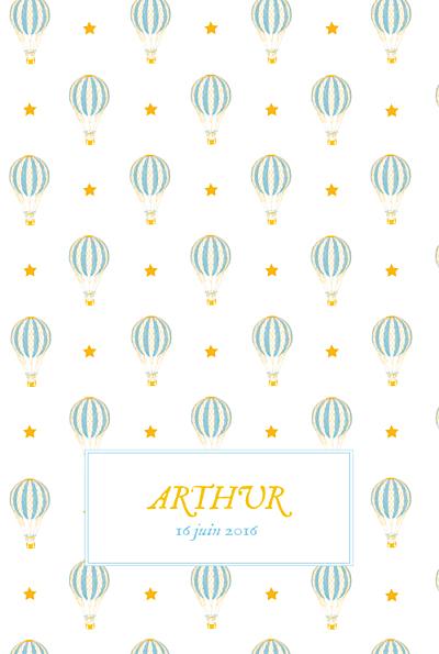 Faire-part de naissance Montgolfière (4 pages) jaune bleu finition