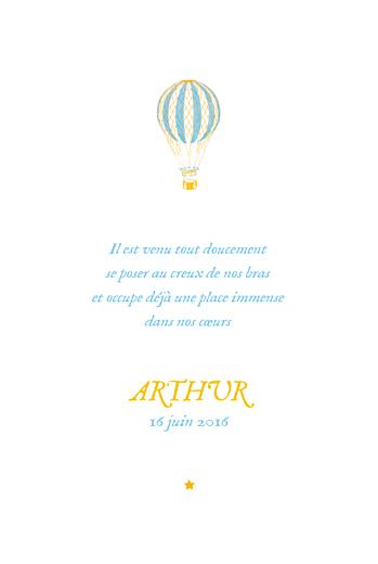 Faire-part de naissance Montgolfière (4 pages) jaune bleu - Page 3